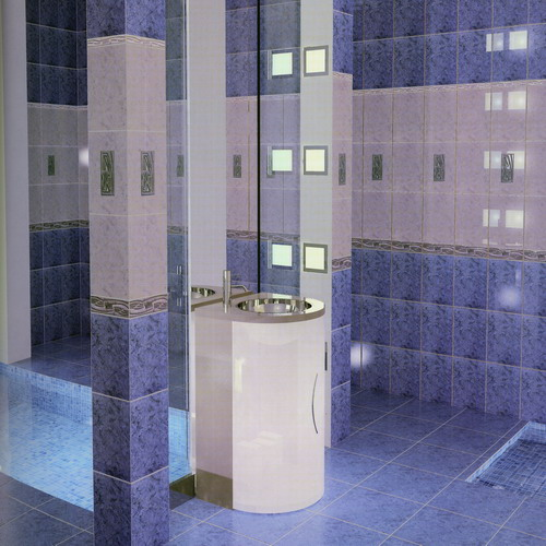 наклейка плитки в ванной